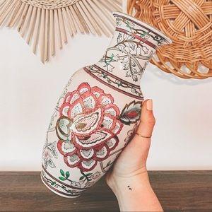 VTG 1970s Handpainted Pink Floral Porcelain Vase